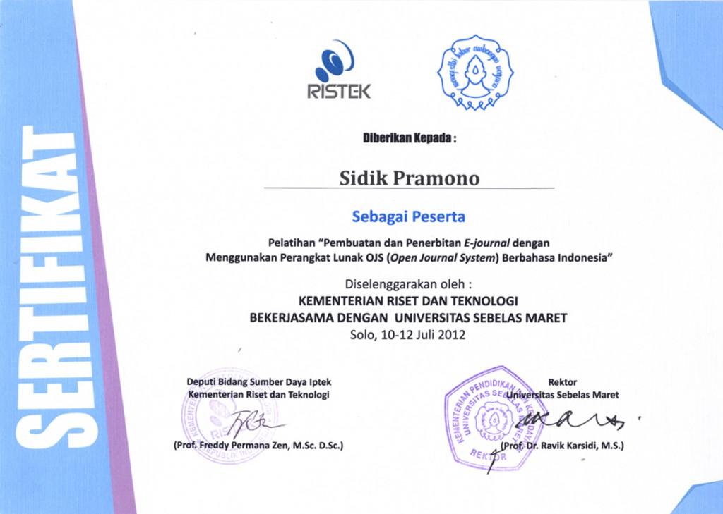 sertifikat pelatihan e-journal
