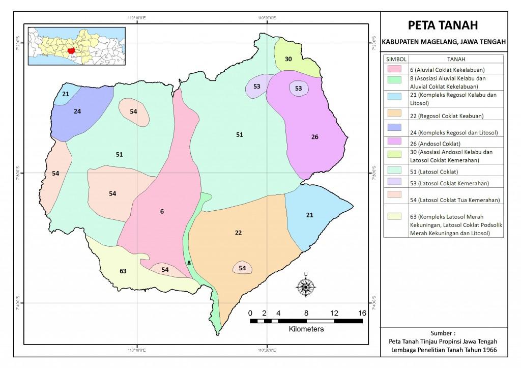 Peta Tanah Kabupaten Magelang, Propinsi Jawa Tengah